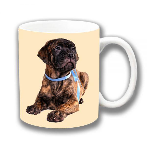 Bullmastiff Coffee Mug Brown Brindle Pup Blue Collar Cream