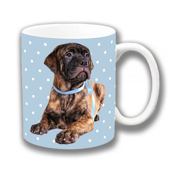 Bullmastiff Coffee Mug Brindle Pup Blue Collar Polka Dot