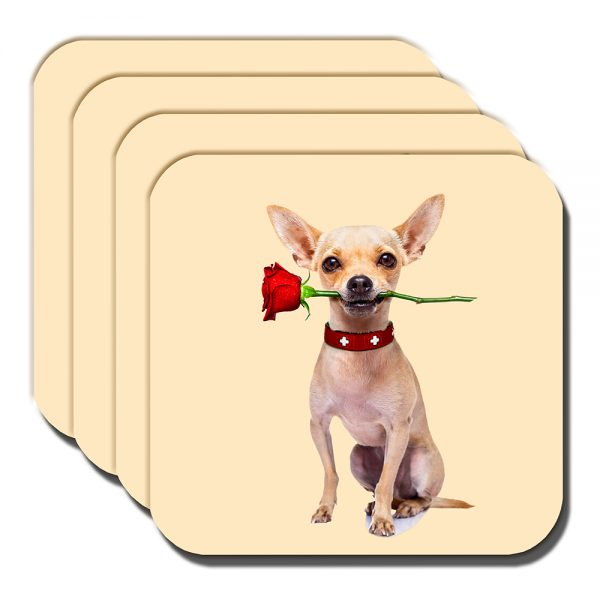 Chihuahua Coaster Fawn Dog Red Rose Romantic Love - Set of 4
