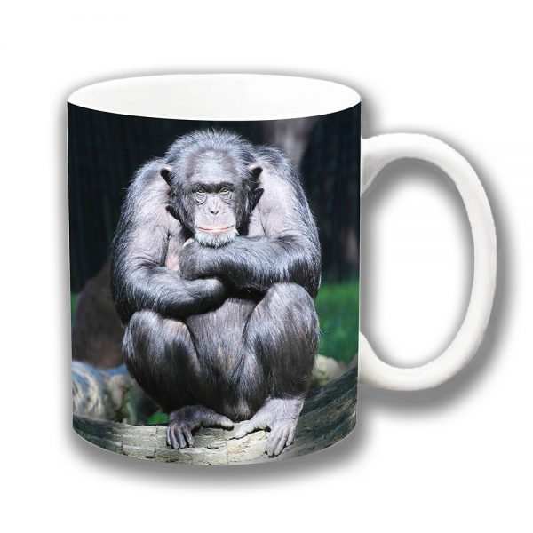 Chimpanzee Coffee Mug Thinker Chimp Resting Ceramic