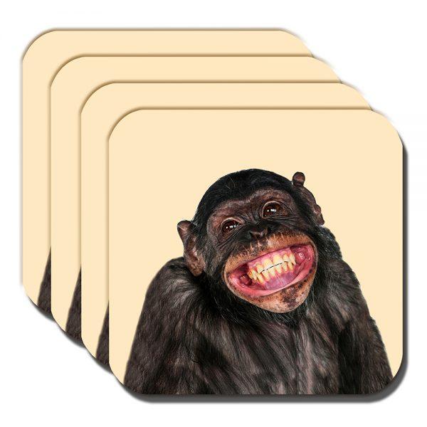 Chimpanzee Coaster Funny Chimp Smiling Laughing Cream - Set of 4