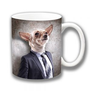 Chihuahua Coffee Mug Funny Fawn Dog Cartoon Suit Tie