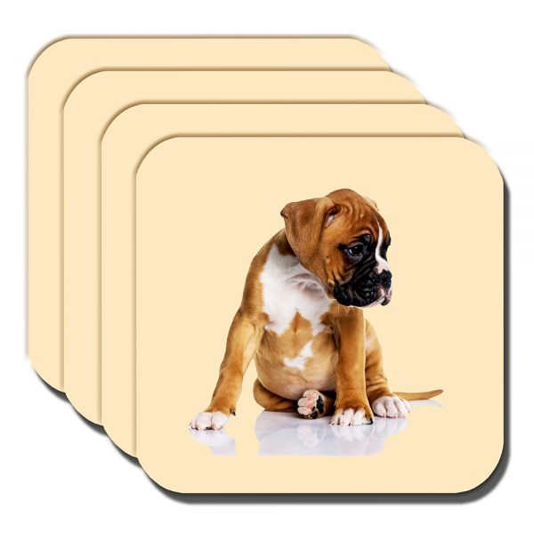 Boxer Pup Coaster Chubby Tan White Puppy Dog Cream - Set of 4