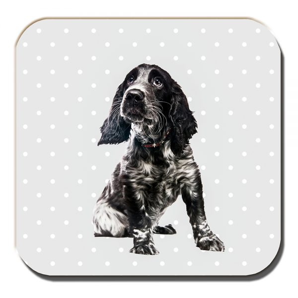 Cocker Spaniel Coaster Black White Dog Polka Dot Grey