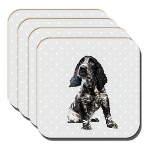 Cocker Spaniel Coaster Black White Dog Polka Dot Grey - Set of 4