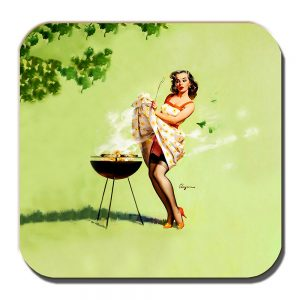 Gil Elvgren Coaster Vintage Retro Artist Smoking Barbeque Pinup