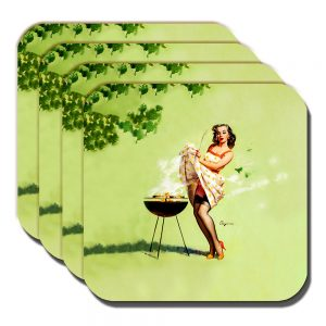 Gil Elvgren Coaster Vintage Retro Artist Smoking Barbeque Pinup - Set of 4