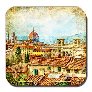 Florence Coaster Vintage Retro Italian City Rooftop Scene