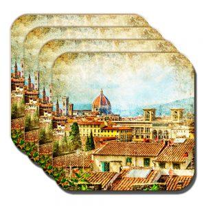 Florence Coaster Vintage Retro Italian City Rooftop Scene - Set of 4