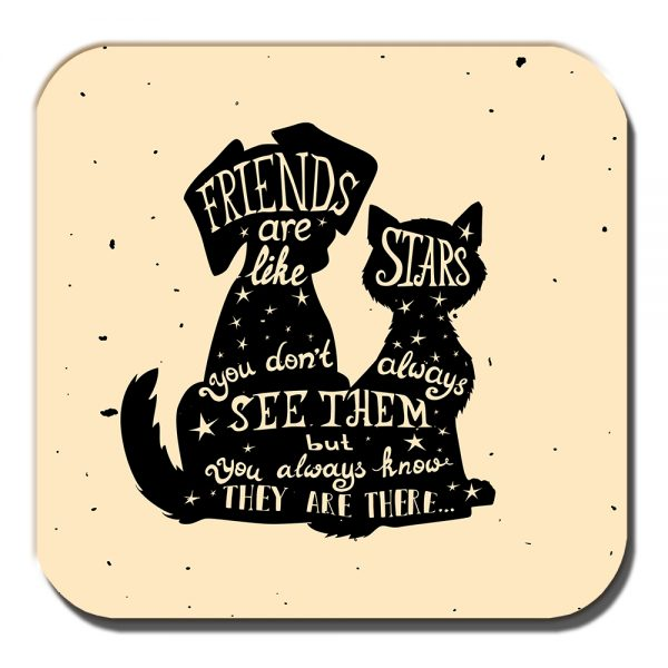 Friends Coaster Cat Dog Silhouettes Friends Are Like Stars