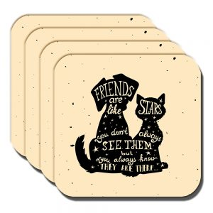 Friends Coaster Cat Dog Silhouettes Friends Are Like Stars - Set of 4