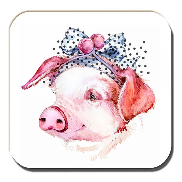 Piglet Coaster Artistic Modern Smiling Pig Hair Ribbon White