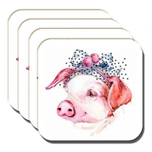Piglet Coasters Artistic Modern Smiling Pig Hair Ribbon White - Set of 4