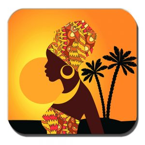 African Tribal Lady Coaster Sunset Palm Trees Silhouette