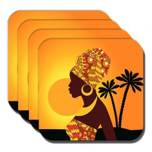 African Tribal Lady Coasters Sunset Palm Trees Silhouette - Set of 4