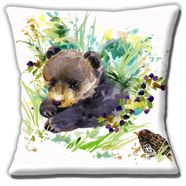 Bear Cub Cushion or Cushion Cover Artistic Modern Song Thrush