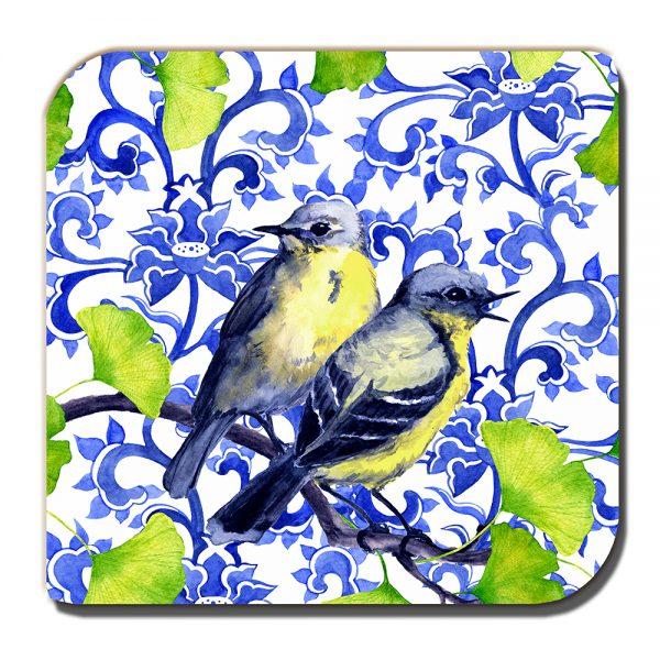 Garden Birds Coaster Small Blue Yellow Tits Green White