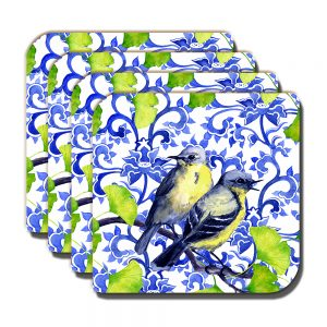 Garden Birds Coaster Small Blue Yellow Tits Green White - Set of 4