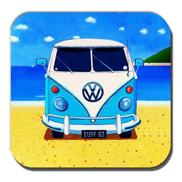 Campervan Coaster Vintage Retro Blue Camper Summer Beach Acrylic