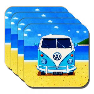 Campervan Coasters Vintage Retro Blue Camper Summer Beach - Set of 4
