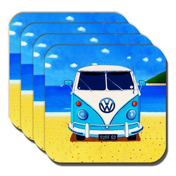 Campervan Coasters Vintage Retro Blue Camper Summer Beach - Set of 4