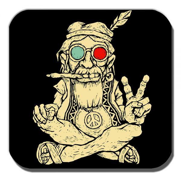 Ageing Hippy Coaster Peace Sign Vintage Retro Smoking