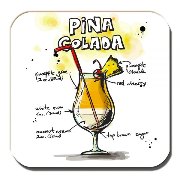 Cocktail Coaster Pina Colada Pineapple Rum Holiday Drink