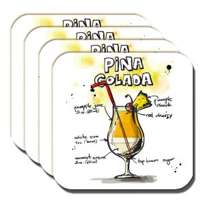 Cocktail Coaster Pina Colada Pineapple Rum Holiday Drink - Set of 4