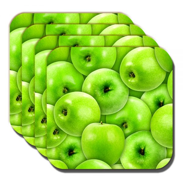 Apples Coaster Green Eating Fruit Fresh Healthy Food Fitness - Set of 4
