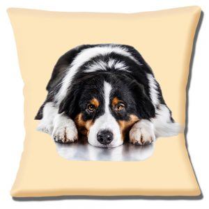 Australian Shepherd Dog Cushion Cover Black Tan White 16 inch 40 cm