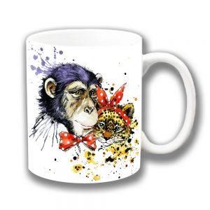 Chimp Leopard Coffee Mug Artistic Polka Bow Tie Scarf