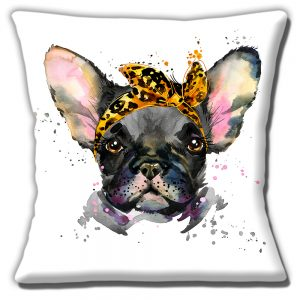French Bulldog Cushion or Cushion Cover Black Dog Leopard Print Scarf