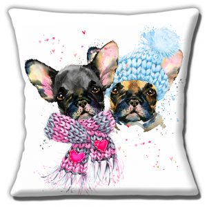 French Bulldog Puppies Cushion or Cushion Cover Winter Woolies