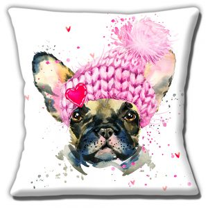 Fawn French Bulldog Cushion or Cushion Cover Cute Frenchie Pink Hat