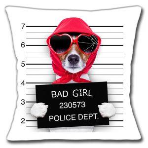 Jack Russell Dog Cushion or Cushion Cover Bad Girl Mug Shot