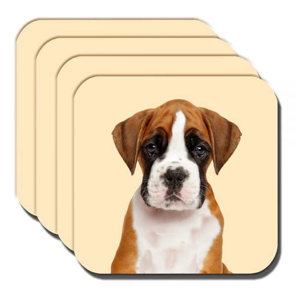 Boxer Pup Coaster Tan White Young Puppy Dog Cream - Set of 4