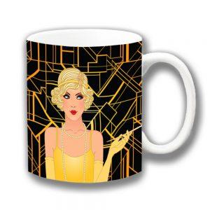 Retro Art Deco Coffee Mug 1920/30's Charleston Lady
