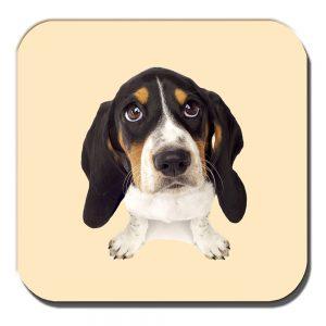 Basset Hound Puppy Dog Coaster White Black Tan Cream