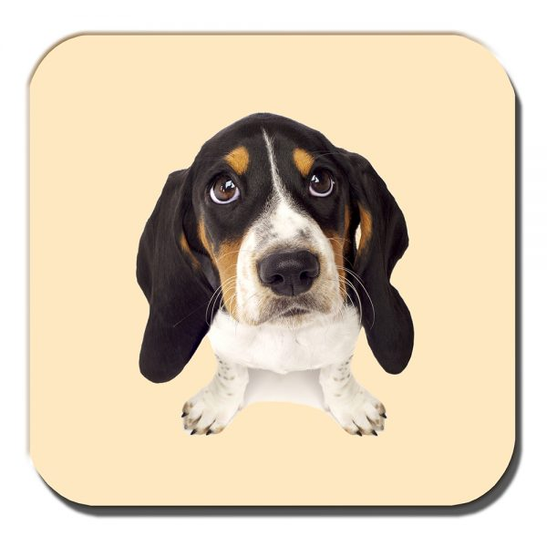 Basset Hound Puppy Dog Coaster White Black Tan Cream