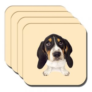Basset Hound Puppy Dog Coaster White Black Tan Cream - Set of 4