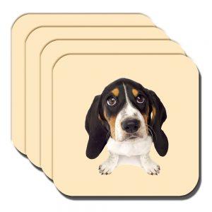 Basset Hound Puppy Dog Coaster White Black Tan Cream - Set of 4