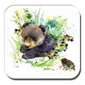 Bear Cub Coaster Artistic Modern Song Thrush White