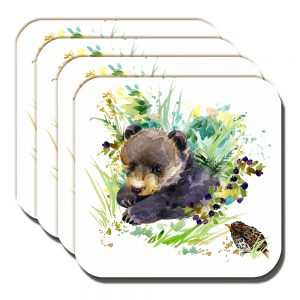 Bear Cub Coaster Artistic Modern Song Thrush White - Set of 4