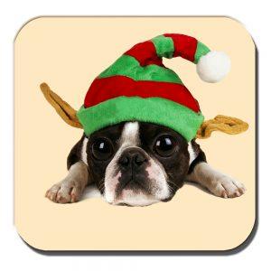 Boston Terrier Coaster Puppy Dog Elf Hat Christmas Cream