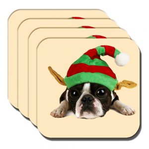 Boston Terrier Coaster Puppy Dog Elf Hat Christmas Cream - Set of 4
