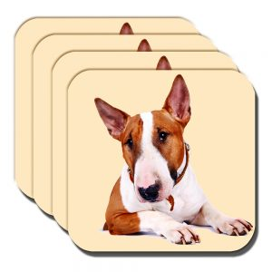 Bull Terrier Coaster Adult White Tan Dog Collar Acrylic Cream - Set of 4