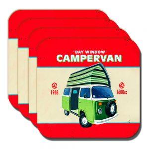 Campervan Coaster Vintage Retro Camper Van Bay Window - Set of 4