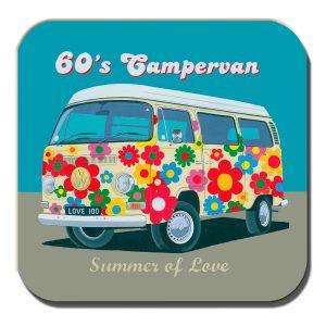 Campervan Coaster Vintage Retro 60's Camper Summer Love Flowery