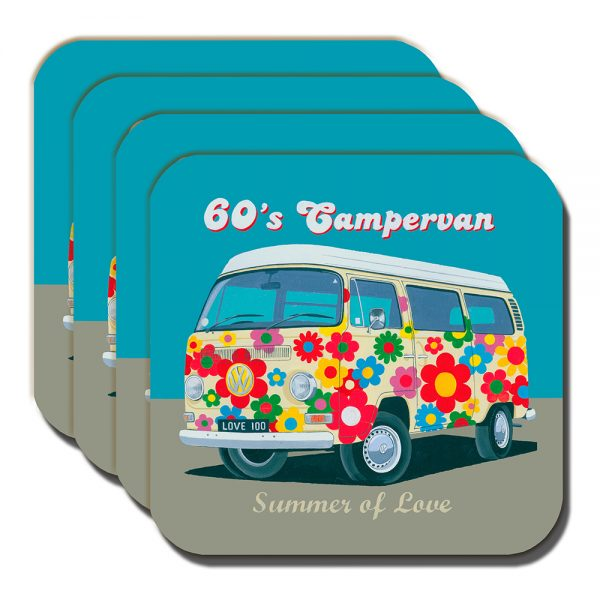 Campervan Coaster Vintage Retro 60's Camper Summer Love Flowery - Set of 4