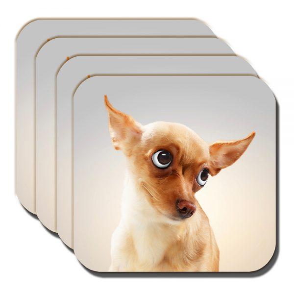 Chihuahua Coaster Funny Fawn Cartoon Dog Big Eyes Acrylic - Set of 4